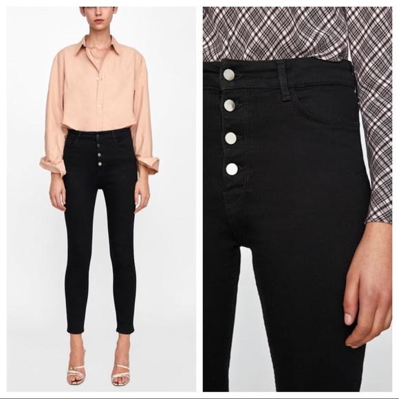 24beea28 Zara black high waist button fly skinny jeans 10. M_5c3909718ad2f9446fb36939